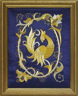 "Mural ""Bird PAVA"" blue, Torzhok seamstresses"
