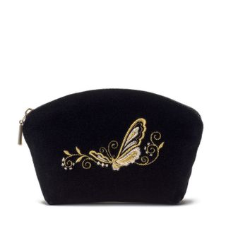 "Velvet cosmetic bag ""Butterfly"" with zipper and gold embroidery"