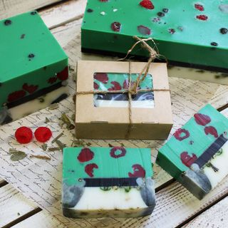 Squared handmade soap with herbs Raspberry