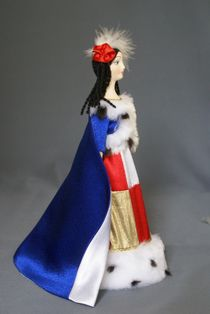 Doll gift porcelain. A lady in a masquerade dress.1840-ies.