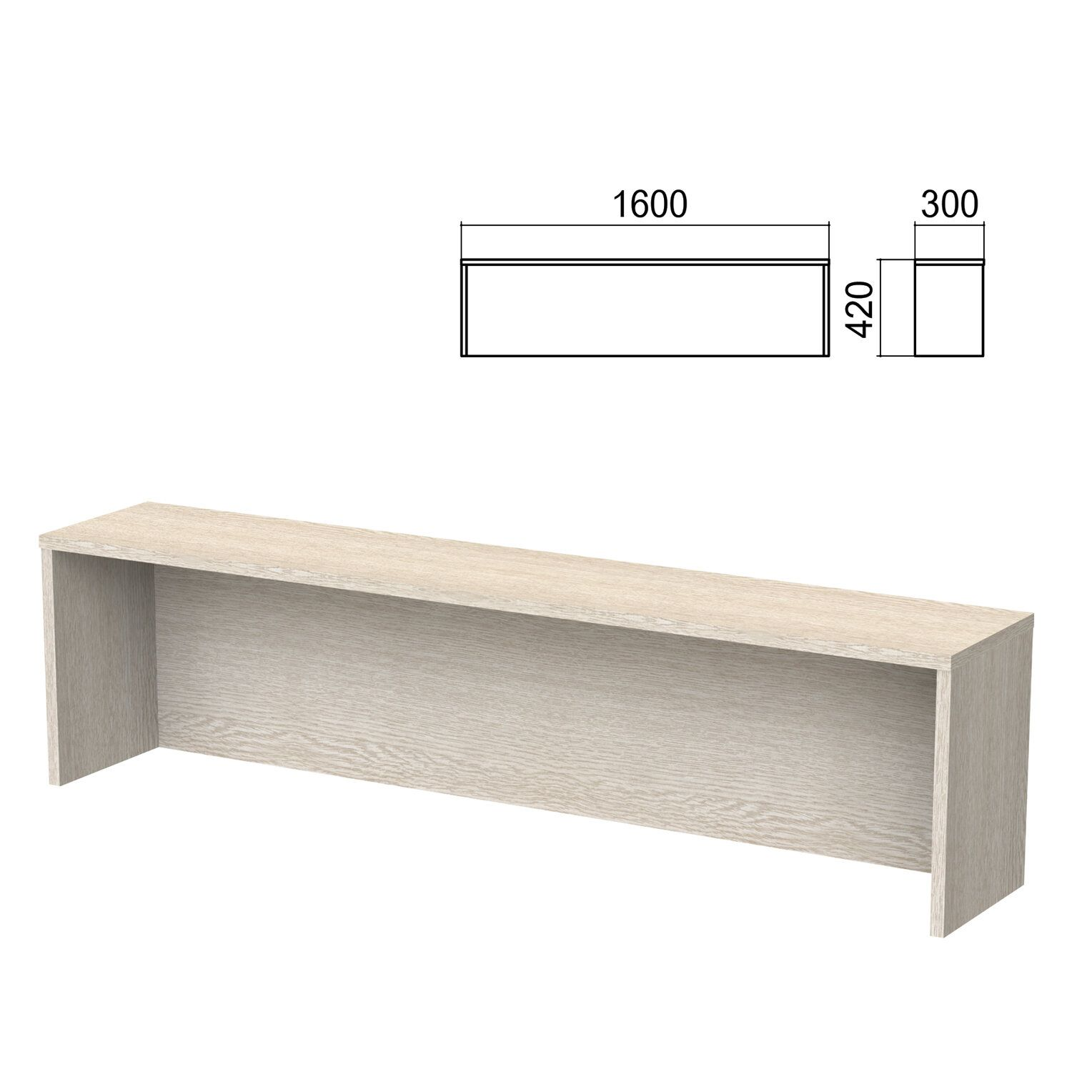 Argo table add-on, 1600 mm wide, ash shimo