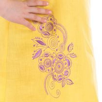 Dress baby Caramel yellow color with silk embroidery