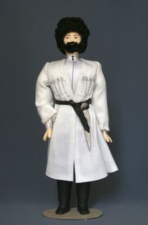 Doll gift porcelain. North Caucasus. Men's festive costume.