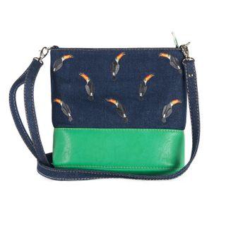 Bag denim Tropicana blue with silk embroidery