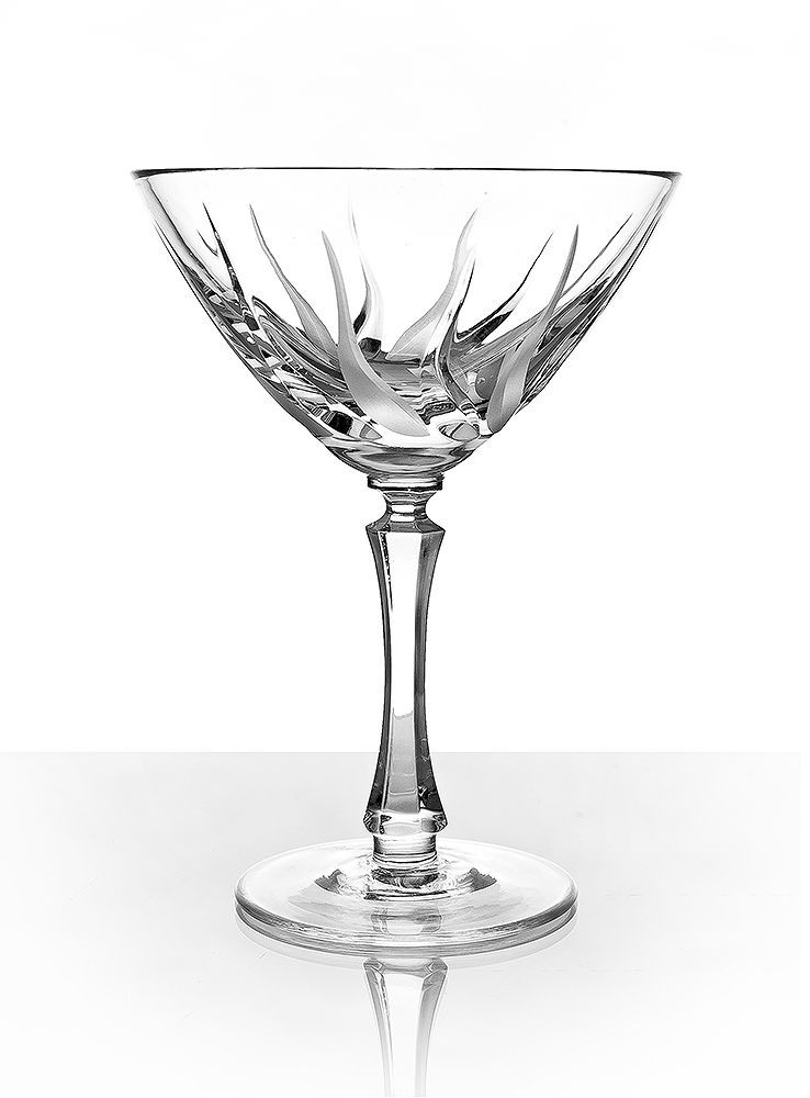 """Set of crystal martini glasses """"Flame"""" 2 pieces"""