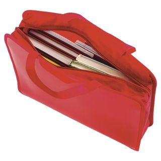 The zip folder with handles PYTHAGORAS, A4, plastic, zipper top, plain red