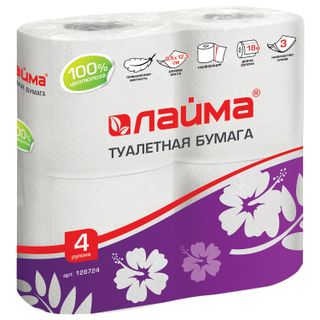 LIMA / Toilet paper for household use, soldering 4 pcs., 3-ply (4x18 m), white
