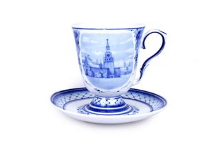 Dulevo porcelain / Glass and saucer 600 ml Classic Architecture
