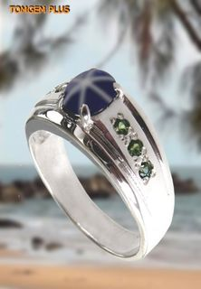 Silver 925 ring with 5x7 mm star sapphire