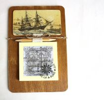 Handmade Men's Souvenir Magnet Steamer Sailboat with Writing Unit