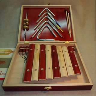 Professional set of musical instruments made of metal