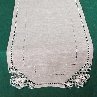 """Track with openwork embroidery """"CUT CORNERS"""", table linen, handmade"""