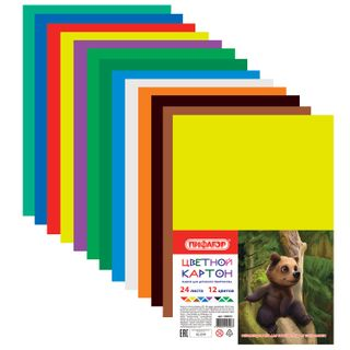Cardboard A4 colored uncoated (matte), 24 sheets in 12 colors, PYTHAGORAS, 200х283 mm
