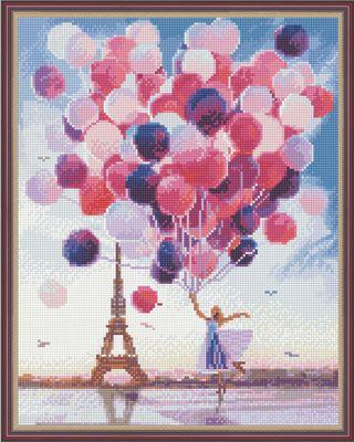 """Diamond mosaic """"Balls in Paris"""" 40x50 cm"""