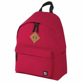 Backpack BRAUBERG, universal, city-format, single tone, red, 20 litres 41х32х14 cm