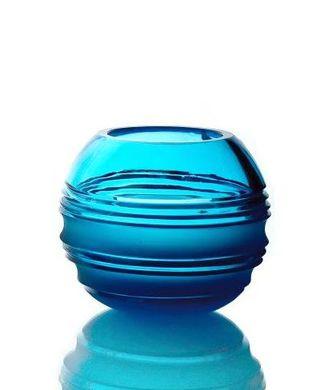 "Crystal vase for flowers ""Pauzhna"" medium turquoise"