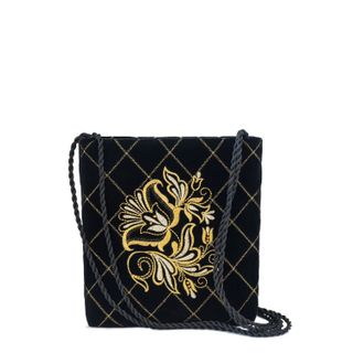 "Velvet bag ""the moon"" black with gold embroidery"