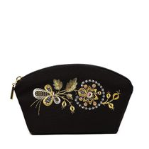 Beautician 'dawn' in black with gold embroidery
