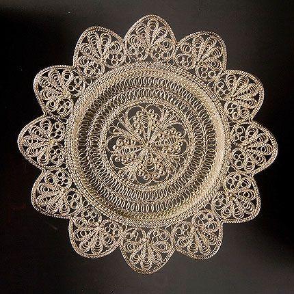 Plate 'Daisy' silver, Kazakovskaya Filigree