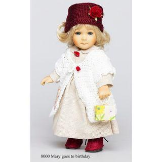 Birgitte Frigast / Porcelain doll Mary Mary goes to her birthday, 18 cm