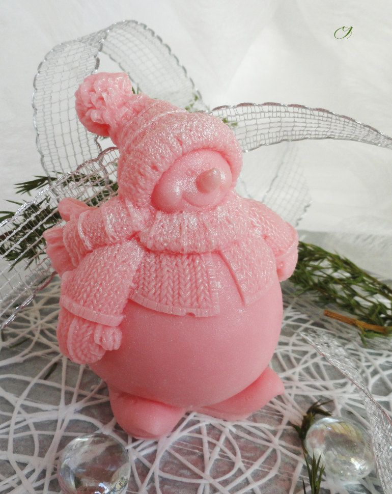 Snowman pink homemade olive soap gift