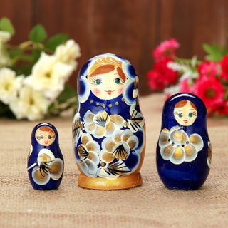"Matryoshka ""Marina"" 3 doll, blue dress"