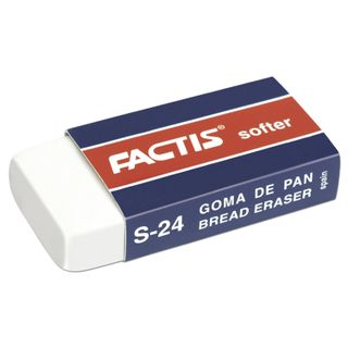 Eraser FACTIS Softer S 24 (Spain), 50х24х10 mm, white, rectangular, synthetic rubber, cardboard holder