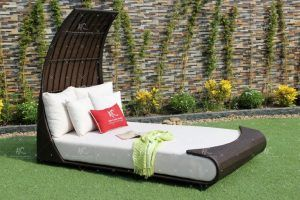 Poly Rattan Outdoor Sunbed
