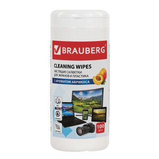 BRAUBERG / Cleaning wipes for screens and plastic with APRICOT scent, tube 100 pcs., Wet