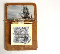 Mens magnet handmade Sailboat with Notepad