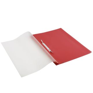 Folder plastic with perforations BRAUBERG, A4, 140/180 µm, red