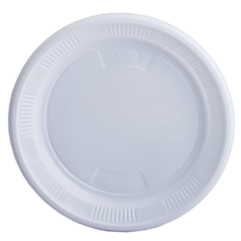 LIMA / Disposable dessert plates, SET 100 pcs., Plastic, d = 170 mm, BUDGET, white, PS, cold / hot