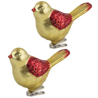 """GOLDEN FAIRY TALE / Christmas tree decorations """"Bird"""", SET 2 pcs., Plastic, 11 cm, golden color with red wings"""