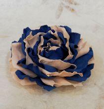 Hair clip brooch roses cream blue milotto