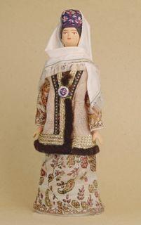 Doll gift porcelain. Kazan lips. Russia. Female Tatar costume. Late 19th - early 20th century.