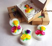 Handmade soap March 8 White with flowers - mix of colors