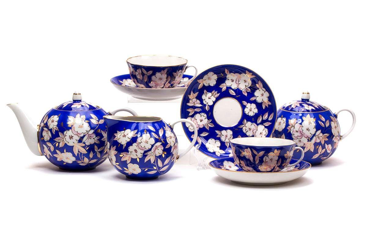 Dulevo porcelain / Tea set 15 pcs. Tulip Apple Blossom