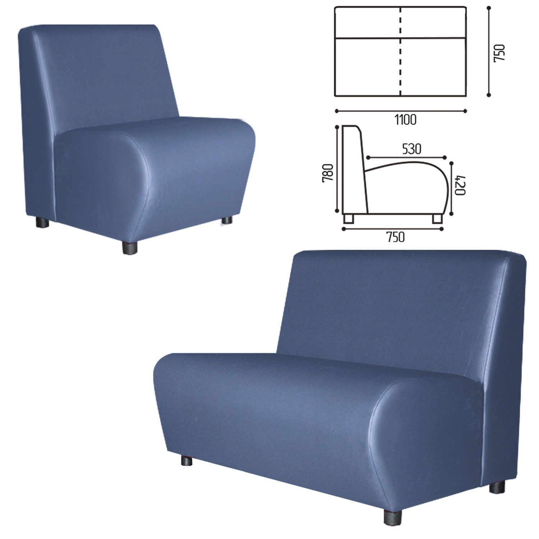 "GARTLEX / Sofa soft double ""Cloud"", V-600, 1100x750x780 mm, without armrests, eco-leather, blue"