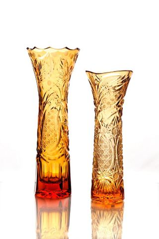 "Crystal vase for flowers ""May"" large amber"