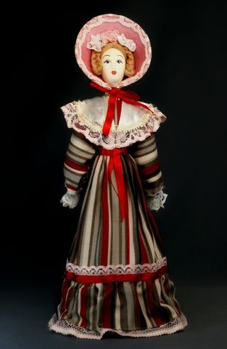 Doll gift porcelain. Secular suit for a walk. The middle of the 19th century. Petersburg. The European fashion.