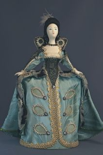 Doll gift porcelain. Costume society ladies of the early 18th century, Europe.