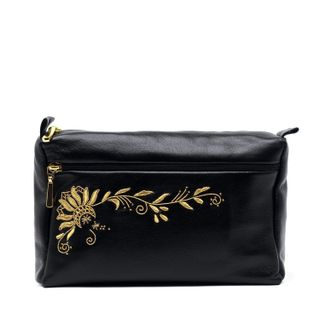 "Leather cosmetic bag ""Darina"" black with gold embroidery"