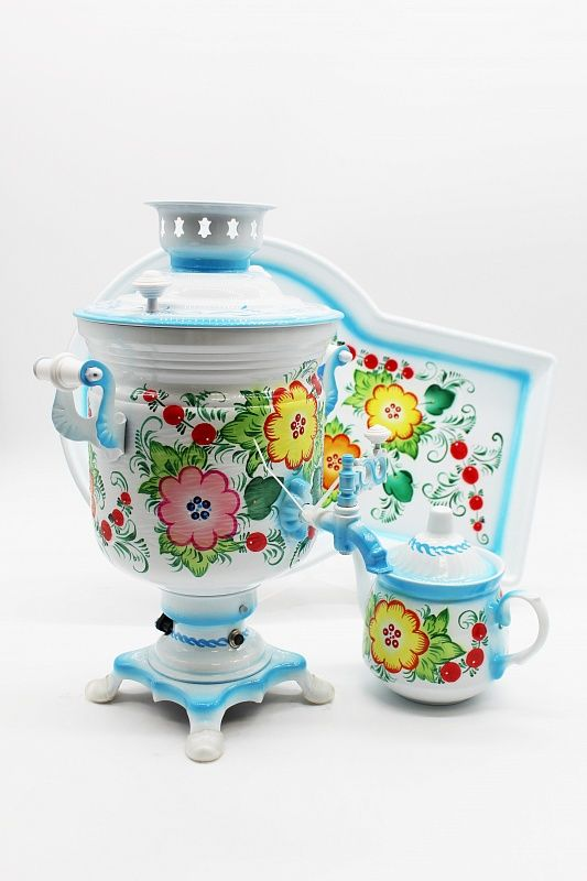 "Dulevo porcelain / Electric samovar 3 l. ""Bouquet on white"" Bank in a set with auto-off."