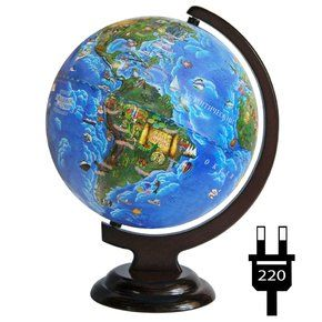 Globe for children 250mm with a backlit on a wooden stand, working from the outlet
