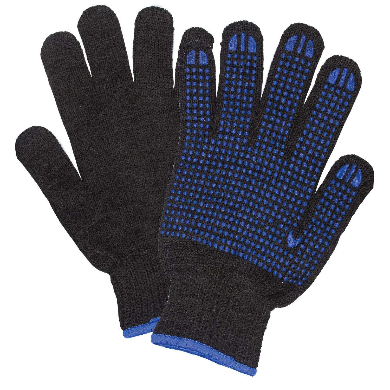 LIMA / Cotton gloves PREMIUM 1 PAIR, grade 7, 70 g, 233 tex, PVC point, Euro hanger, BLACK