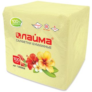 LIME / Paper napkins, 100 pcs., 24x24 cm, yellow (pastel), 100% cellulose