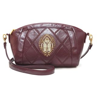 """Leather bag """"scarab"""" Burgundy with gold embroidery"""