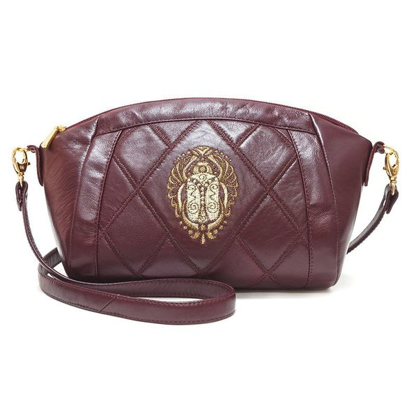 Leather bag 'scarab' Burgundy with gold embroidery