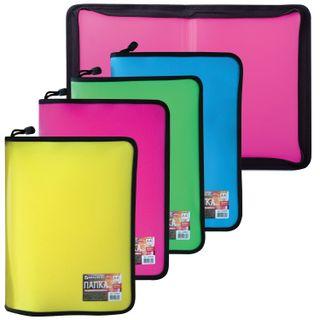 The zip folder plastic BRAUBERG, A4, 325х230 mm, 4 colors assorted, neon