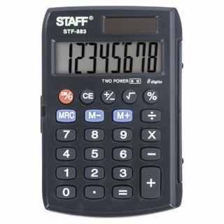 Pocket calculator STAFF STF-883 (95x62 mm), 8 digits, dual power supply